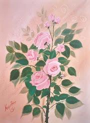 Νότα Κυμοθόη Τριαντάφυλλα Ελαιογραφία σε μουσαμά