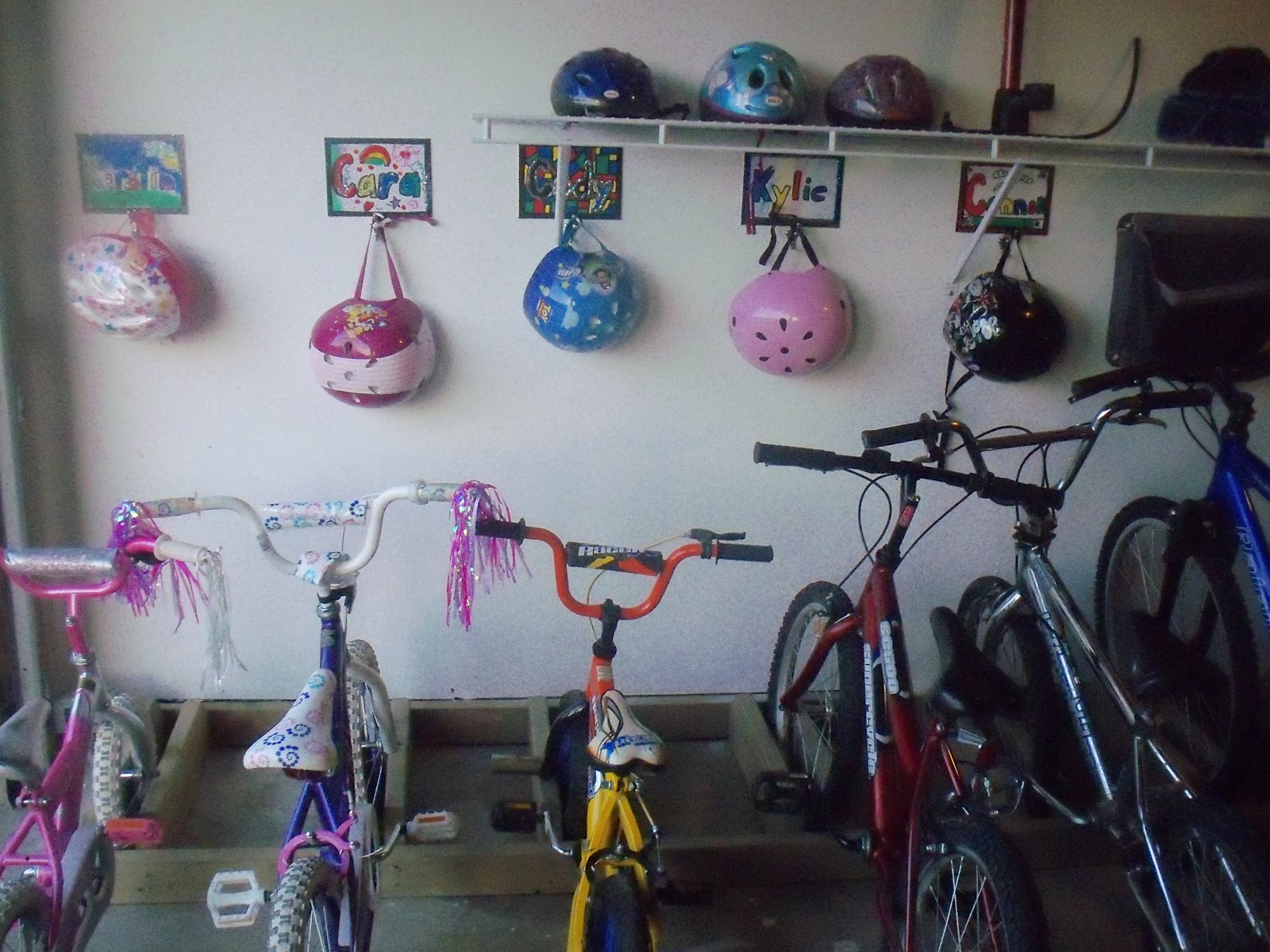 A White Wire Shelf And A Few Storage Bags Were Added For Extra Helmets, Bike  Extras And Kids Toys.
