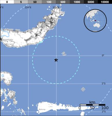 Epicentro sismo de 5,7 grados de magnitud sacudió el mar de las Molucas, 27 de Junio 2013