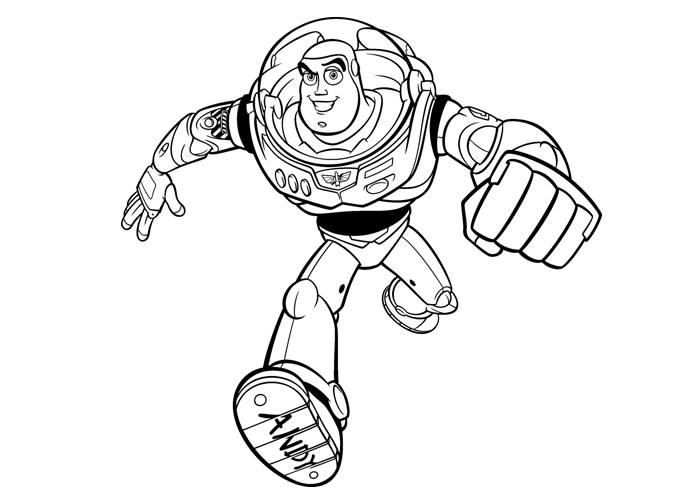 Walt Disney Cartoon Character Buzz Toy Story Andys Running Coloring Page For Kids