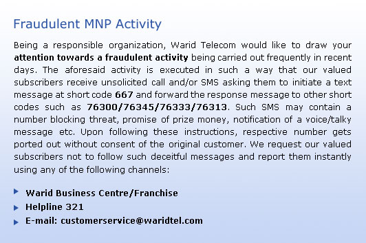 Fraudulent MNP Activity