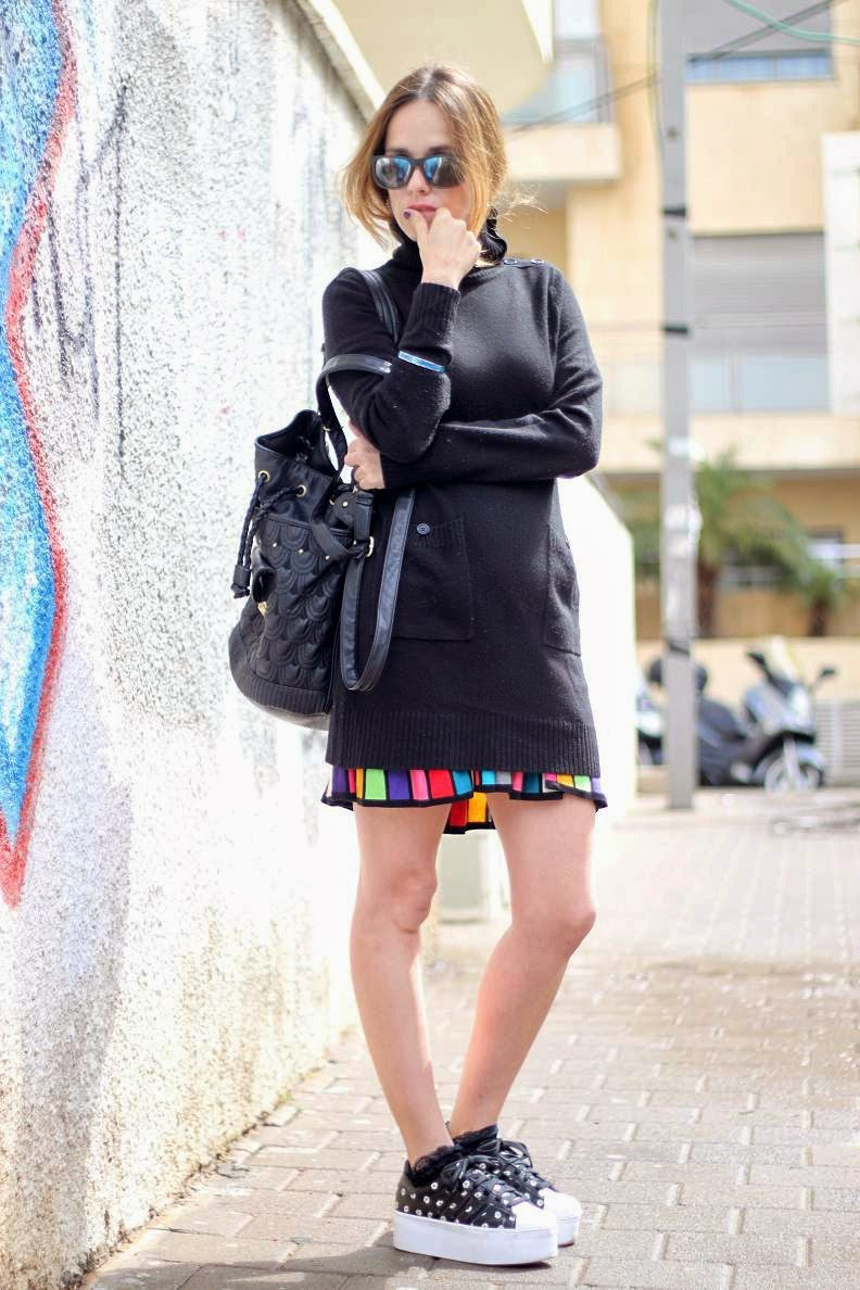 turtleneck, plisseskirt, ginditlvfashionweek, streetstyle, adidas,stylish, trends, שבועאופנהתלאביב2014, בלוגאופנה,אופנה