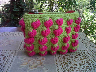 Crochet Coin Purse with Strawberry Stitch, Strawberry Stitch Patter, Tusuk Strawberry
