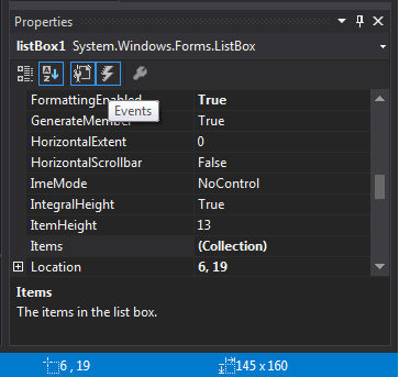 Properties (özellikler) paneli ve olaylar (events) butonu.