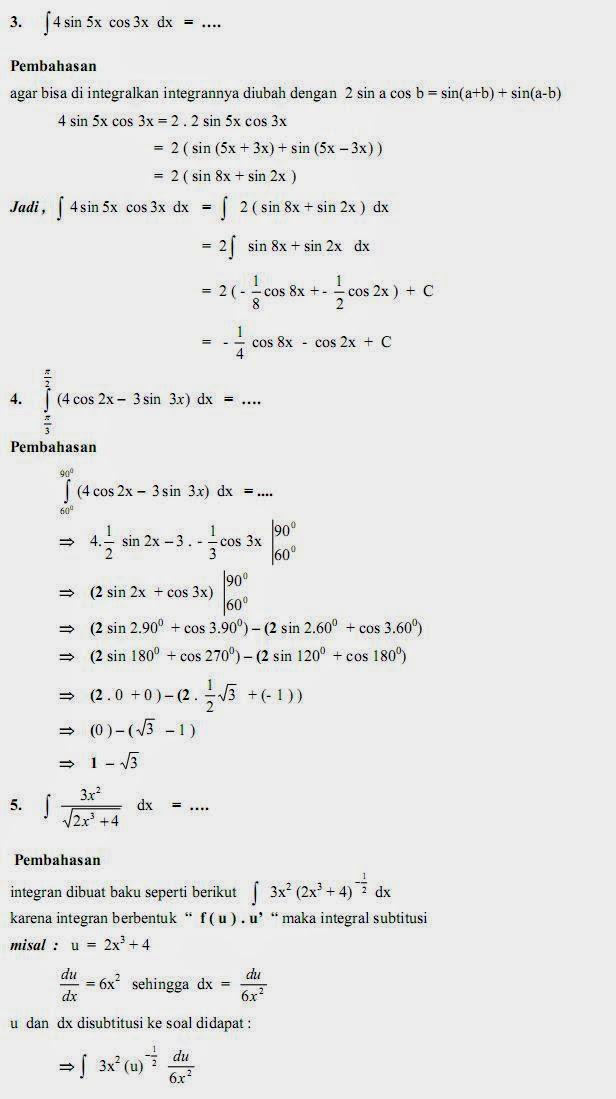 Matematika Di Sma Soal Dan Pembahasan Ujian Matematika Bab Integral Paket B