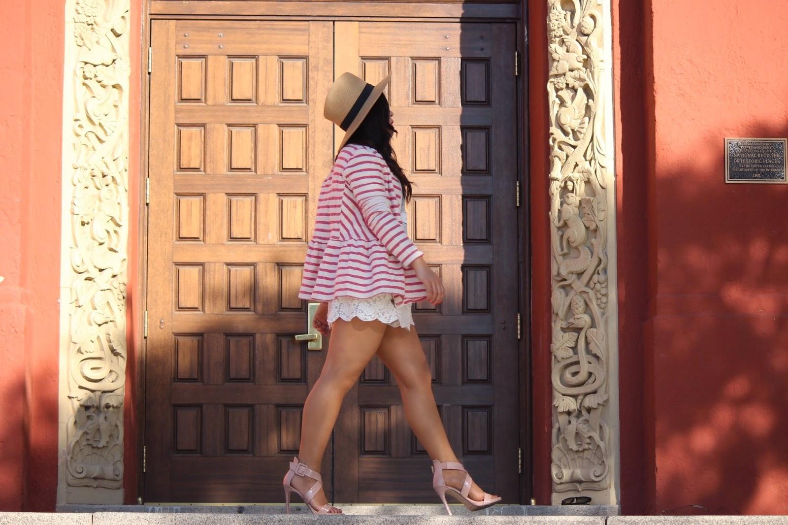 las vegas fashion blogger, peplum jacket, nautical trend, chinese laundry shoes,chinese laundry blackjack heels