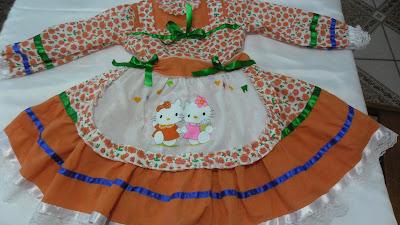 vestido para dançar quadrilha com avental pintado