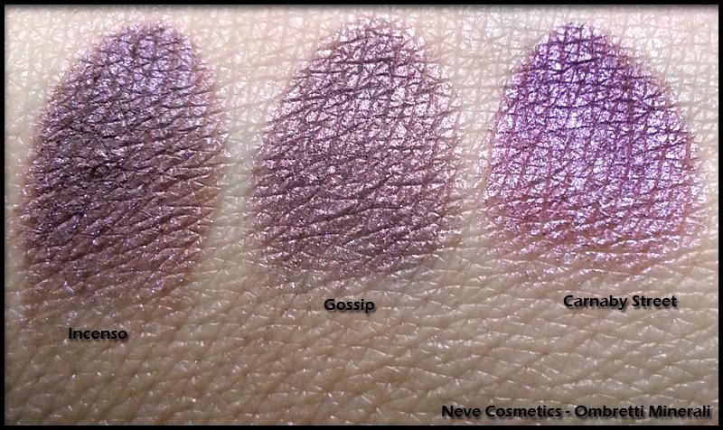 Neve Cosmetics - Ombretti Minerali - Swatch di Incenso, Gossip e Carnaby Street