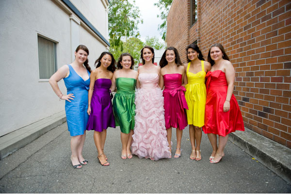 bridesmaid dresses in different colors and styles but same length