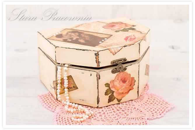 pudełko decoupage, decoupage, szkatułka decoupage, shabby chic, postarzanie przedmiotów, decoupage papier ryżowy