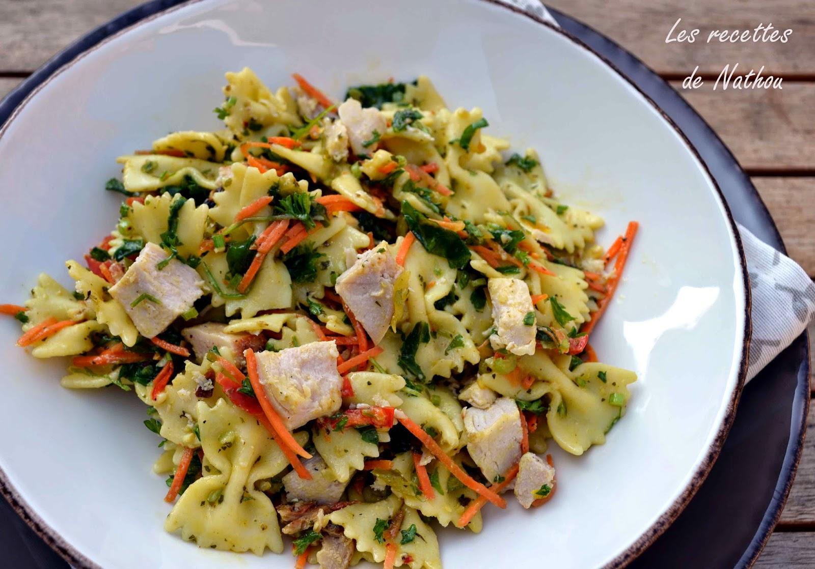 salade de p 226 tes au poulet vinaigrette moutarde et curry blogs de cuisine
