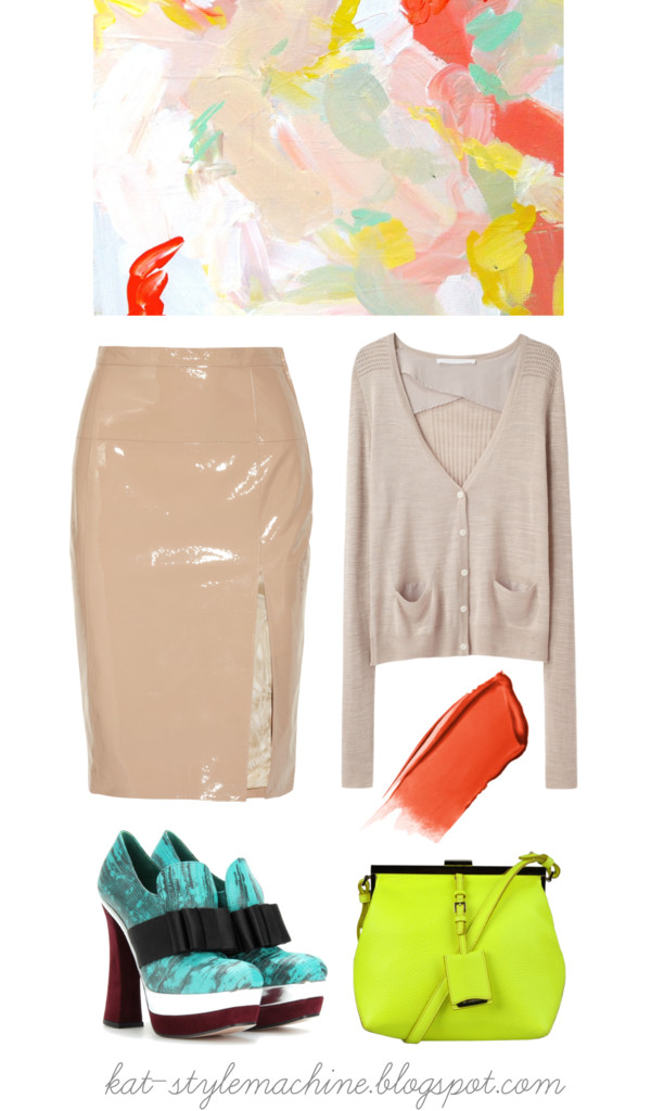 stylish outfit with patent leather skirt and marni shoes