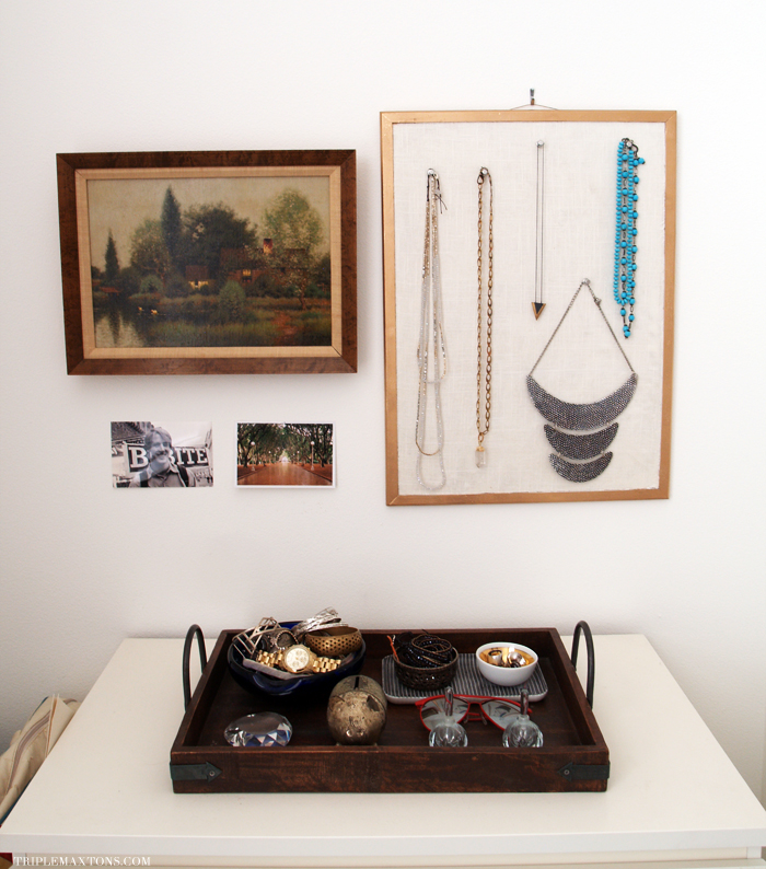 Diy fabric cork hanging jewelry display triple max tons for Diy hanging picture display