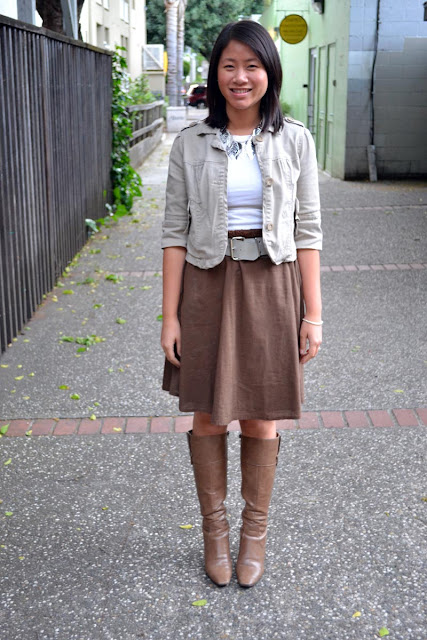 sacramento office fashion blogger angeline evans the new professional blog nine west boots oneill skirt vintage belt