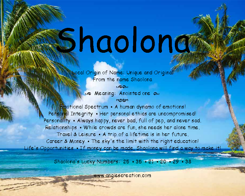 The meaning of the name - Shaolona