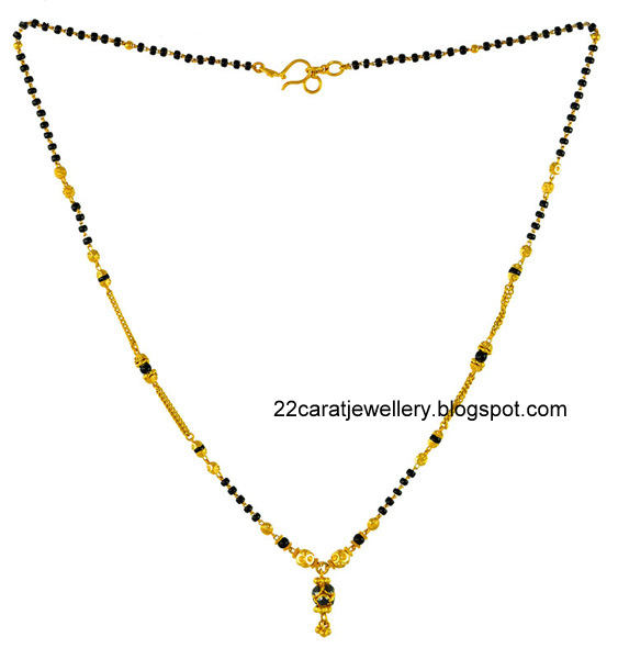 Jewellery Designs: 22 carat Nallapusalu/black beads Jewellery