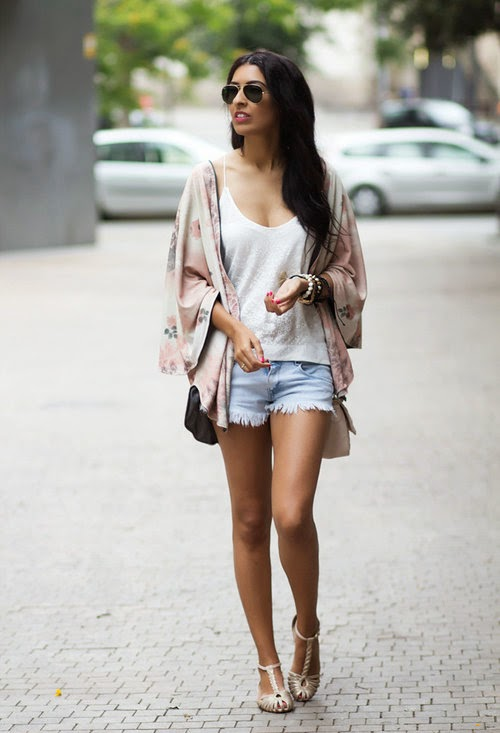 Wearing a Summer Kimono Cardigan with Denim Shorts