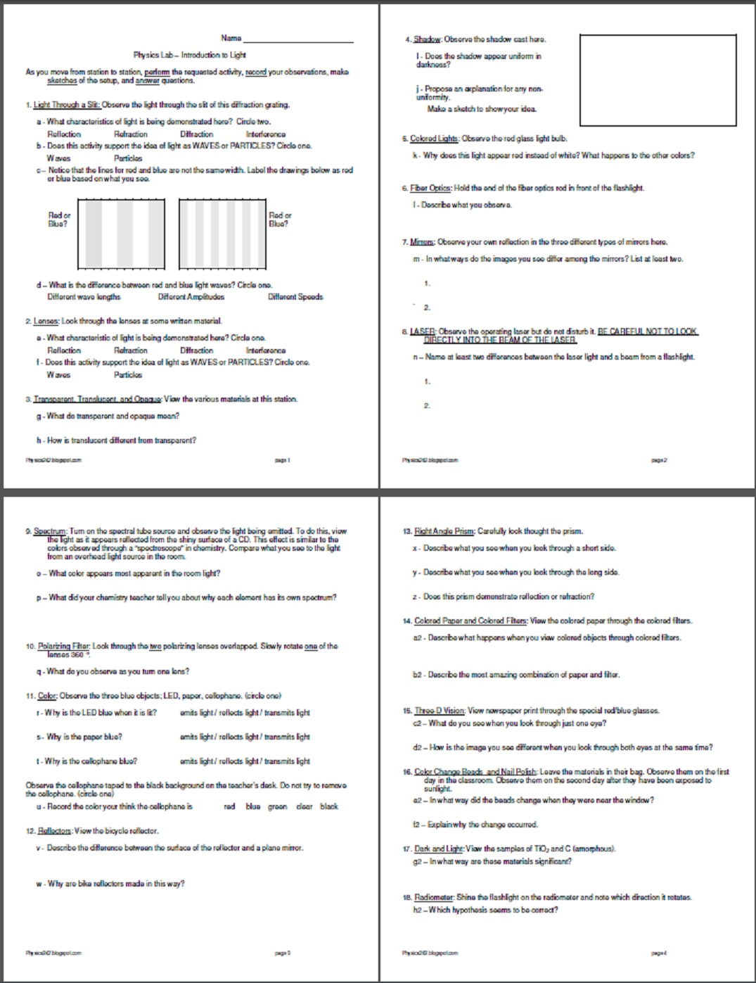 worksheet Transparent Translucent Opaque Worksheet worksheet physics242 if you have other great ideas for introductory activities send them and i will add to the list