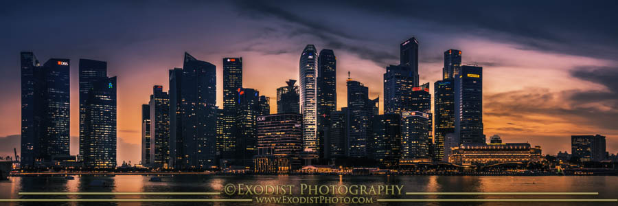 Singapore At Dusk, © 2015 Exodist Photography, All Rights Reserved