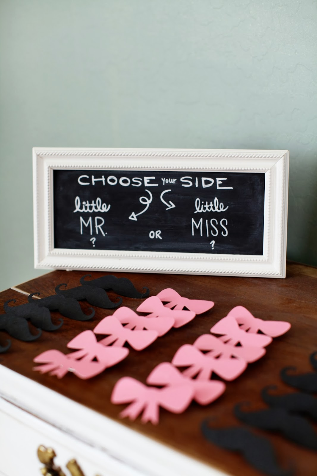 ... To Have Some Fun Guessing At The Shower. Each Guest Chose A Little Bow  Or Mustache Pin To Wear To Show Off If They Think Baby Is A Boy Or Girl.