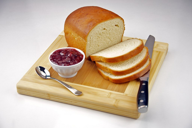 Bread and jam on a breadboard