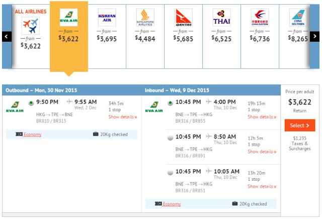 長榮航空 - 香港飛布里斯本(來回機票) HK$3,622起(連稅HK$4,857)
