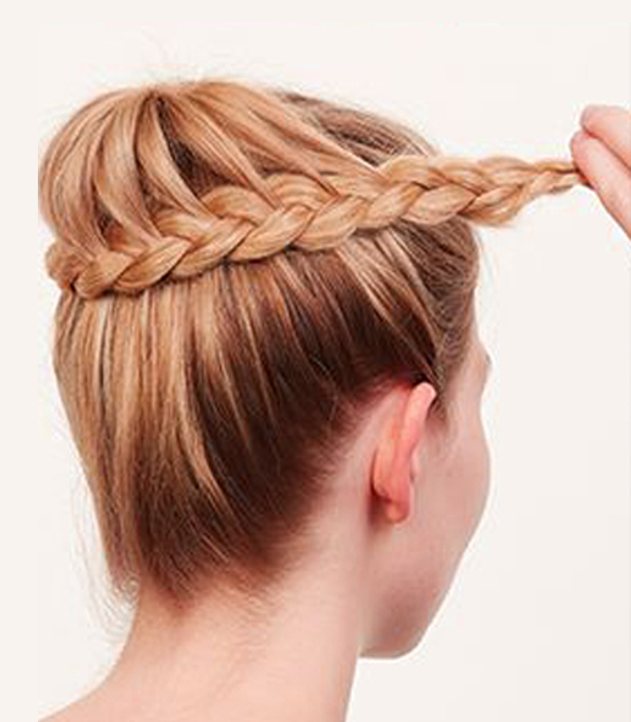 Learn quick easy steps to make a suave bedazzled french braid bun ccuart Images