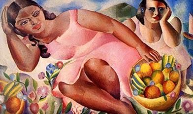 pintura de mulheres com frutas