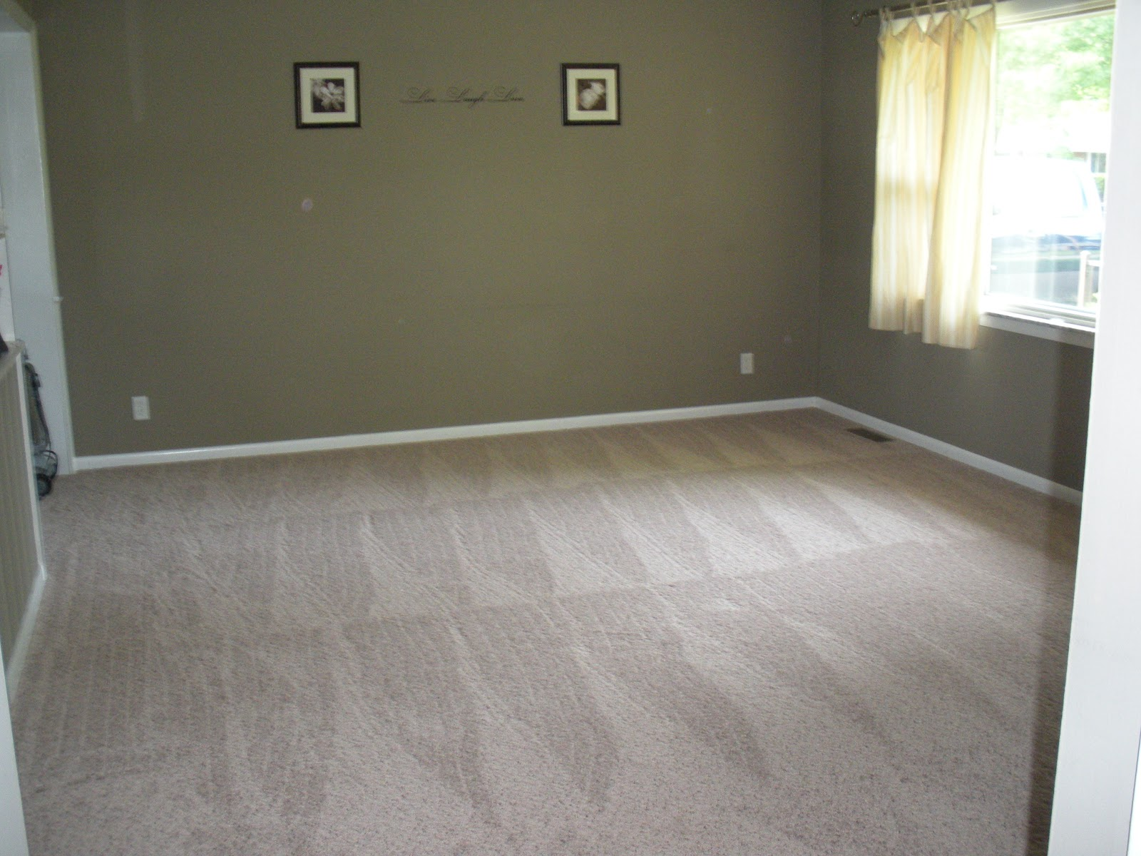 Empty living room with carpet - Here Are 2 Pictures Of Our Living Room It S Empty Because We Just Had New Carpet Was Installed