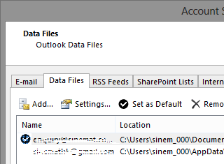 data files in msoutlook2013