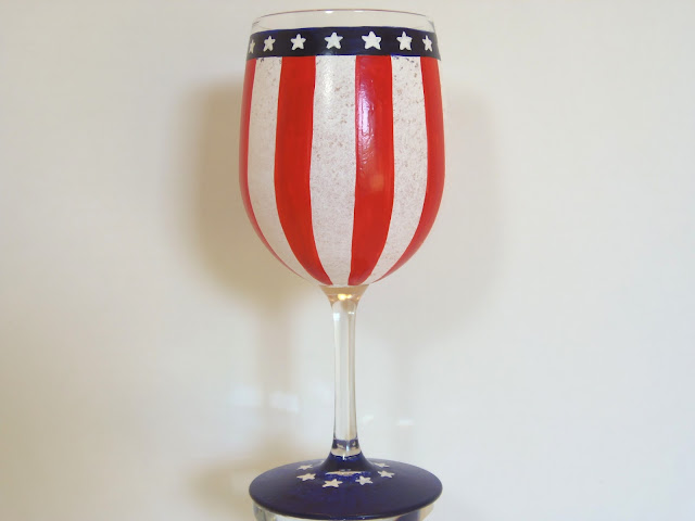 Hand Painted American Flag Inspired Wine Glass