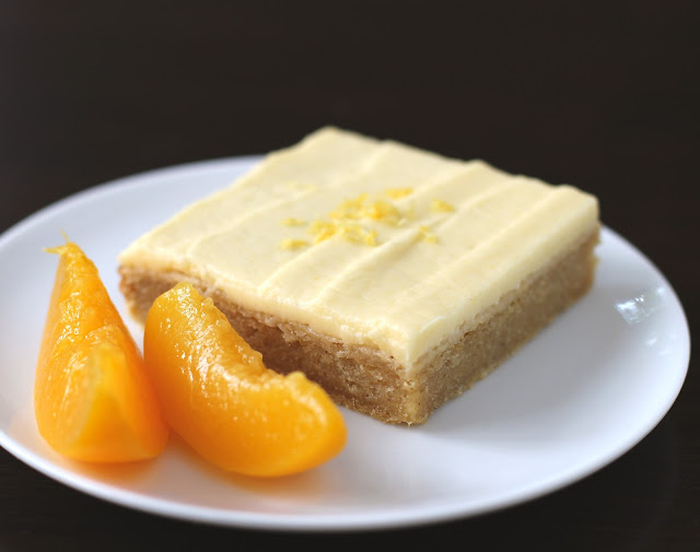 Healthy Lemony Peach Blondies with Peach Frosting