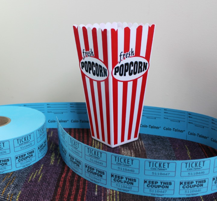 movie night gift basket plastic red and white popcorn bucket blue tickets