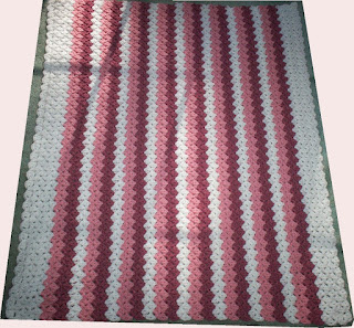 Pink Stripes Baby Afghan - full view