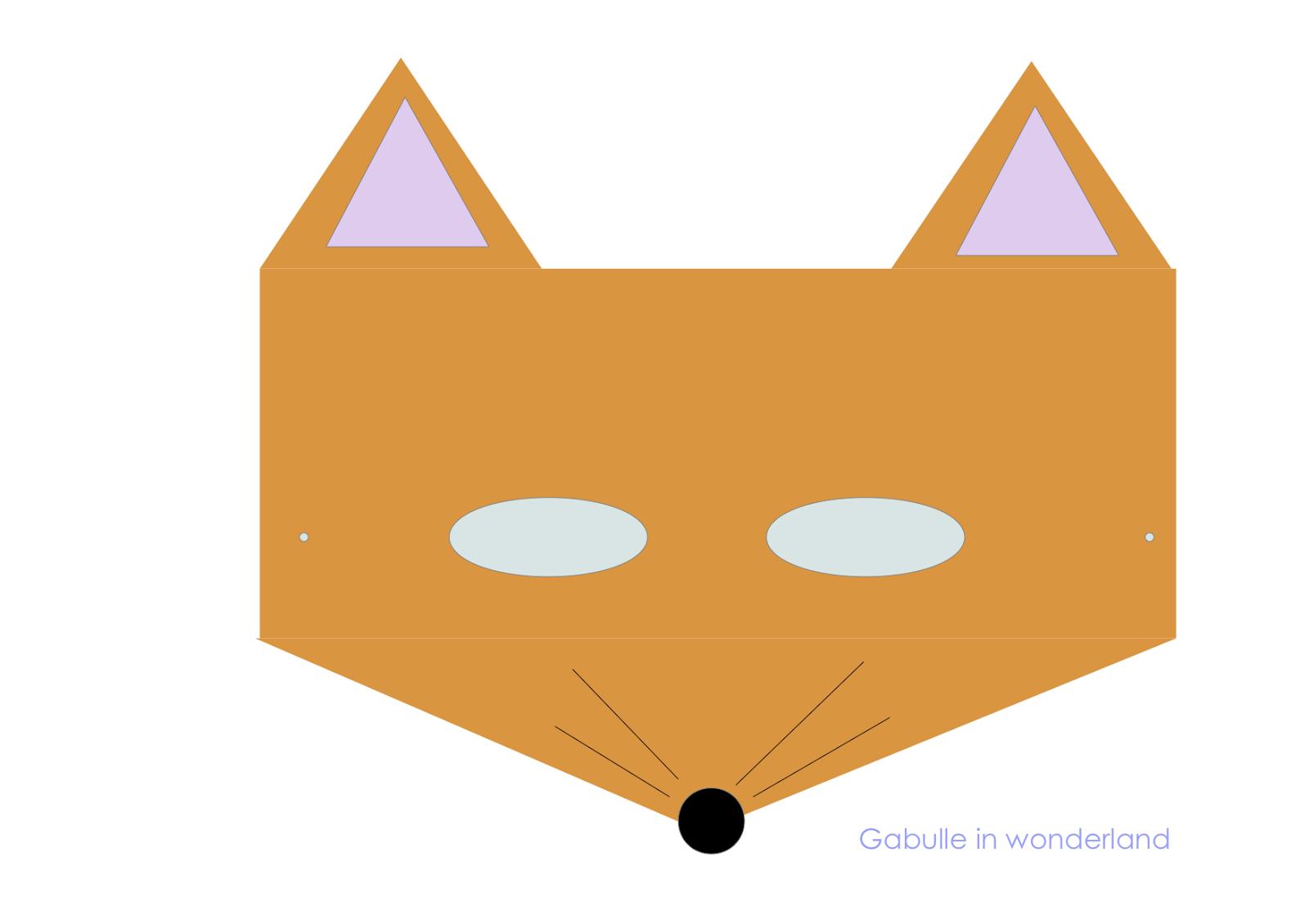 Gabulle in wonderland masques pour enfants imprimer lapin renard et chat - Masque de renard a imprimer ...