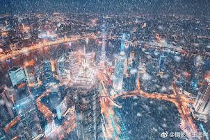 Nieve en Pudong. Shanghái. Enero de 2018