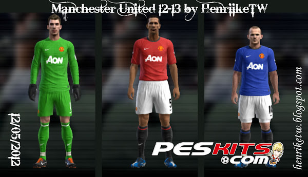 PES 2012 Manchester United 2012/13 Kits by by HenriikeTW