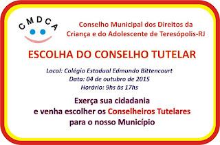 Eleição do Conselho Tutelar de Teresópolis neste domingo, dia 4