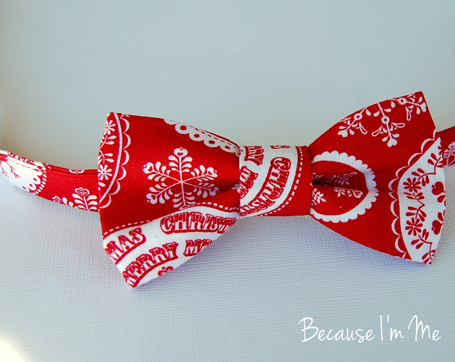 Because I'm Me red and white Christmas bow tie for boys and men.