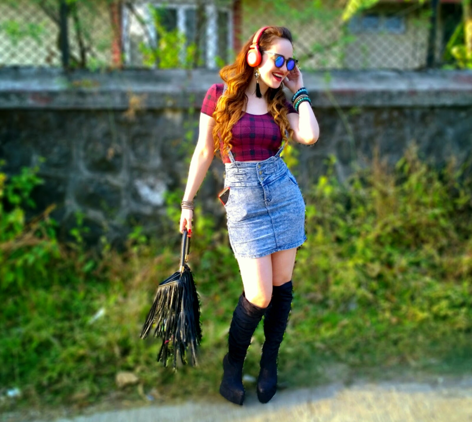 Tartan Plaid Crop Top,Denim Suspender Skirt,Ankle boots,JBL Wireless Headphones