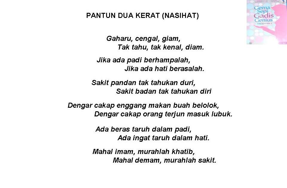 Bahasa Melayu Tingkatan 2 Pantun Dua Kerat Nasihat