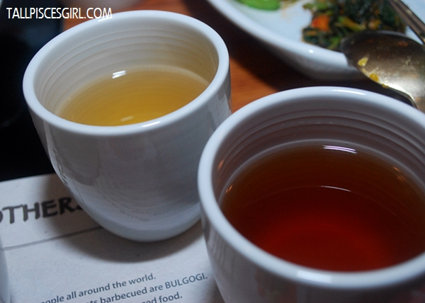 Corn tea (back) and Sour Plum tea (front)