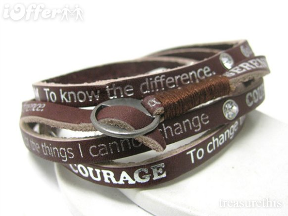 Serenity Prayer Bracelet Leather4