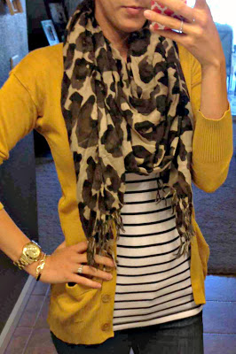 Mustard yellow sweater, stripes with scarf