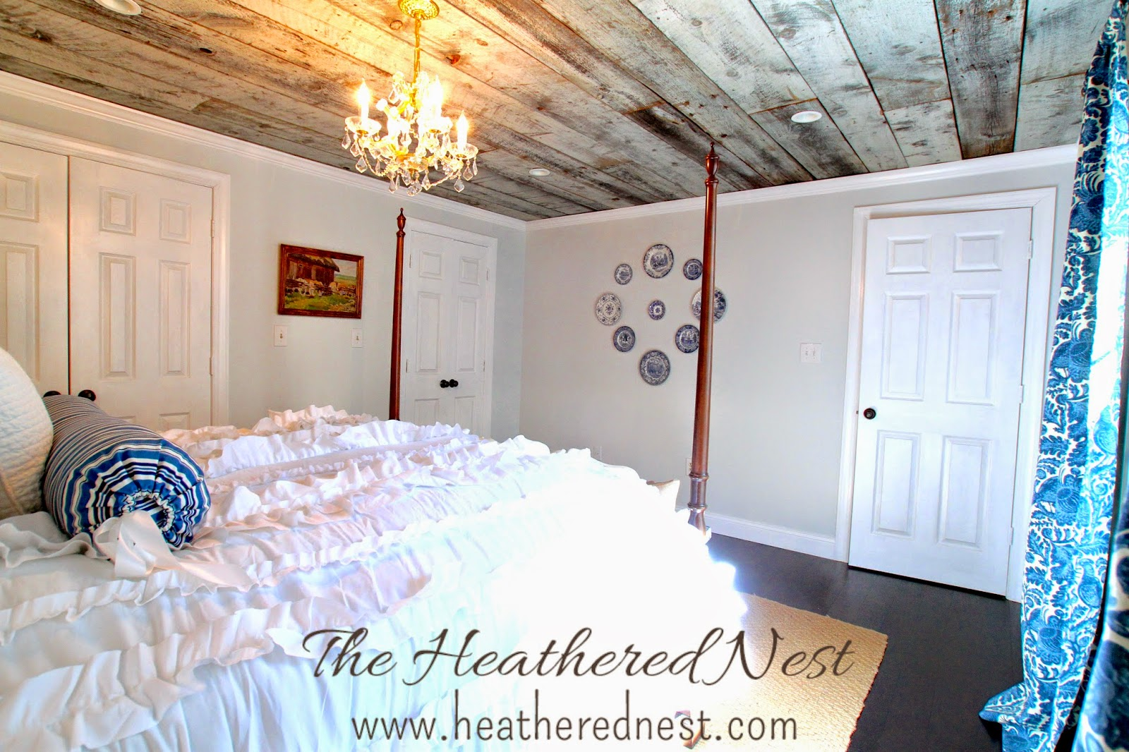 heathered nest guest room, barnboard ceiling, blue and white bedroom, flow blue plates, modern country bedroom