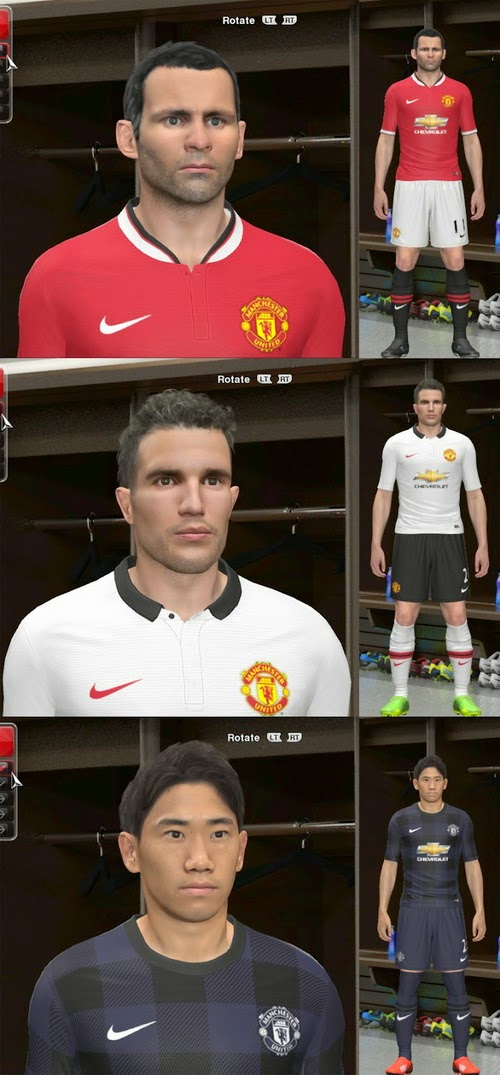 PES 2014 PC Kit Set Home Away Third Manchester United 2014 2015