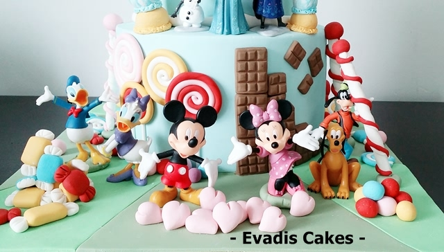 Mickey and friends picture on candy land cake