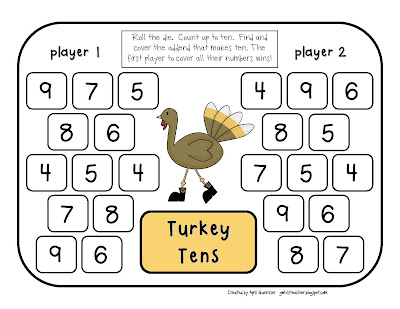 gwhizteacher, thanksgiving math games, math daily 5 stations, 1st grade math games, turkey tens game