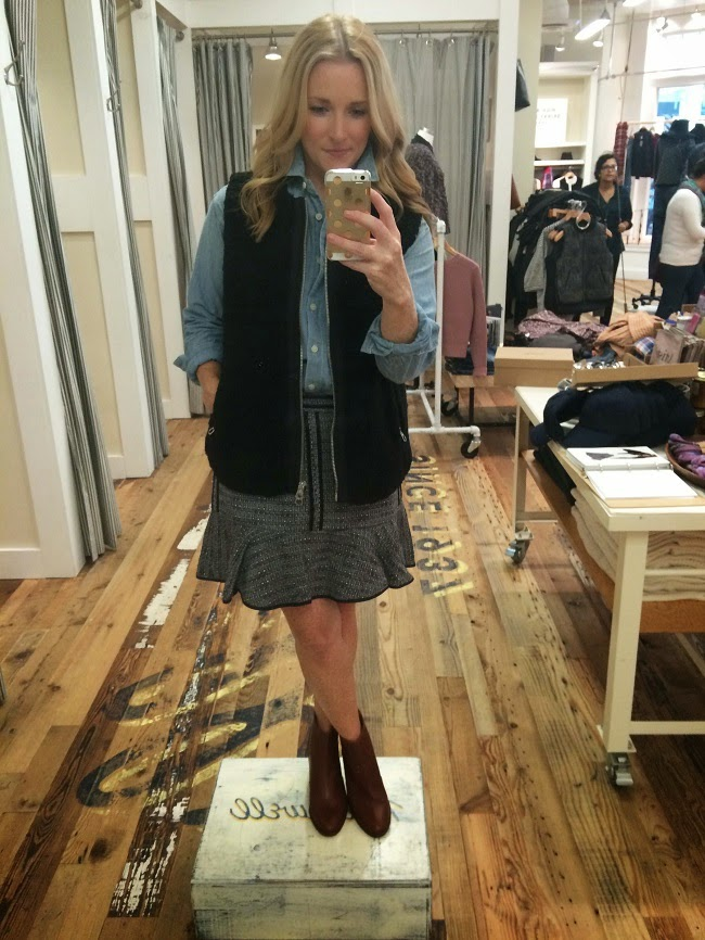 chambray shirt, flirty skirt, black fur vest, brown booties