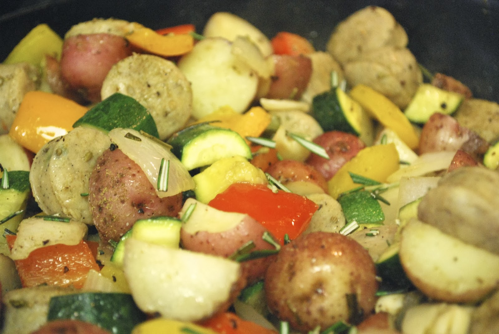 ... : Chicken Sausage with Potatoes and Summer Vegetables | Bevy Richmond